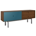 BDi Margo Modern Media Cabinet in Toasted Walnut Wood with Gray Steel and Marine Blue Wood Sliding Door