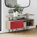 BDi Margo Modern Storage Console in Cayenne and Drift Oak | Room Shot
