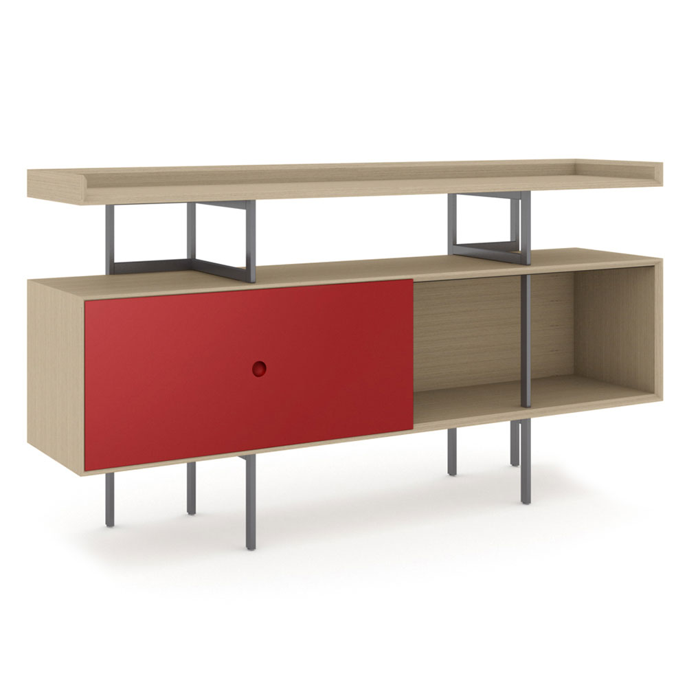 BDi Margo Modern Storage Console in Cayenne and Drift Oak