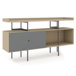 BDi Margo Modern Storage Console in Drift Oak Wood with Gray Steel and Fog Gray Wood Sliding Door