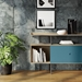 BDi Margo Modern Storage Console in Drift Oak Wood with Gray Steel and Marine Blue Wood Sliding Door - Front View, With Props, Room View