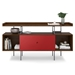BDi Margo Modern Storage Console in Toasted Walnut Wood with Gray Steel and Cayenne Red Wood Sliding Door - Front View, With Props, Door Centered