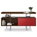 BDi Margo Modern Storage Console in Toasted Walnut Wood with Gray Steel and Cayenne Red Wood Sliding Door - Front View, With Props, Door on Right