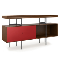 BDi Margo Modern Storage Console in Toasted Walnut Wood with Gray Steel and Cayenne Red Wood Sliding Door
