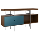 BDi Margo Modern Storage Console in Toasted Walnut Wood with Gray Steel and Marine Blue Wood Sliding Door