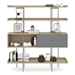 BDi Margo Modern Shelves in Drift Oak Wood with Fog Gray Sliding Cabinet Door and Gray Steel Frame - Front, Dressed, Door Right