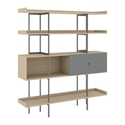 BDi Margo Modern Shelves in Drift Oak Wood with Fog Gray Sliding Cabinet Door and Gray Steel Frame