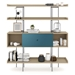 BDi Margo Modern Shelves in Drift Oak Wood with Marine Blue Sliding Cabinet Door and Gray Steel Frame - Front, Dressed, Door Center