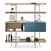 BDi Margo Modern Shelves in Drift Oak Wood with Marine Blue Sliding Cabinet Door and Gray Steel Frame - Front, Dressed, Door Right