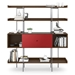 BDi Margo Modern Shelves in Toasted Walnut Wood with Cayenne Red Sliding Cabinet Door and Gray Steel Frame - Front, Dressed, Door Center
