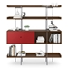 BDi Margo Modern Shelves in Toasted Walnut Wood with Cayenne Red Sliding Cabinet Door and Gray Steel Frame - Front, Dressed, Door Left