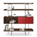 BDi Margo Modern Shelves in Toasted Walnut Wood with Cayenne Red Sliding Cabinet Door and Gray Steel Frame - Front, Dressed, Door Right