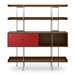 BDi Margo Modern Shelves in Toasted Walnut Wood with Cayenne Red Sliding Cabinet Door and Gray Steel Frame - Front