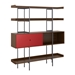 BDi Margo Modern Shelves in Toasted Walnut Wood with Cayenne Red Sliding Cabinet Door and Gray Steel Frame