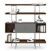 BDi Margo Modern Shelves in Toasted Walnut Wood with Fog Gray Sliding Cabinet Door and Gray Steel Frame - Front, Dressed, Door Center