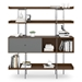 BDi Margo Modern Shelves in Toasted Walnut Wood with Fog Gray Sliding Cabinet Door and Gray Steel Frame - Front, Dressed, Door Left