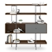 BDi Margo Modern Shelves in Toasted Walnut Wood with Fog Gray Sliding Cabinet Door and Gray Steel Frame - Front, Dressed, Door Right