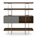 BDi Margo Modern Shelves in Toasted Walnut Wood with Fog Gray Sliding Cabinet Door and Gray Steel Frame - Front