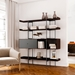 BDi Margo Modern Shelves in Toasted Walnut Wood with Fog Gray Sliding Cabinet Door and Gray Steel Frame - Room View