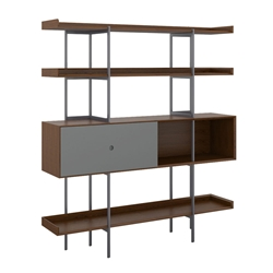 BDi Margo Modern Shelves in Toasted Walnut Wood with Fog Gray Sliding Cabinet Door and Gray Steel Frame