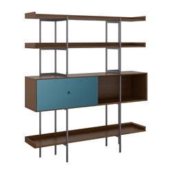 BDi Margo Modern Shelves in Toasted Walnut Wood with Marine Blue Sliding Cabinet Door and Gray Steel Frame