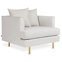 Gus* Modern Margot Arm Chair in Cambie Parchment Beige Fabric Upholstery with Black Metal and Brass Metal Legs