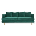 Margot Modern Sofa in Velvet Spruce and Brass Legs by Gus* Modern