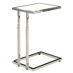 Maria Adjustable Modern Glass Top Accent Table