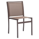 Maribella Brown Metal + Mesh Powder Coated Modern Outdoor Side Chair