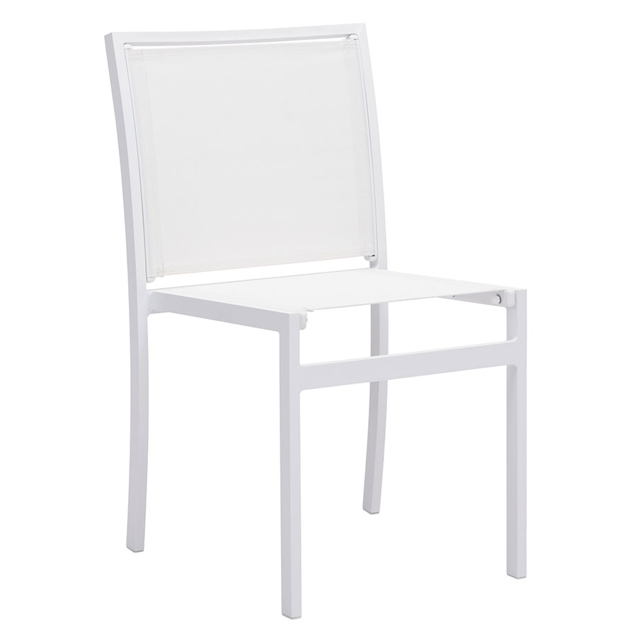 Maribella White Metal + Fabric Modern Outdoor Dining Side Chair