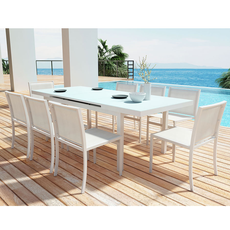 Nice ... Maribella White Modern Outdoor Dining Set W/ Table Extended ...