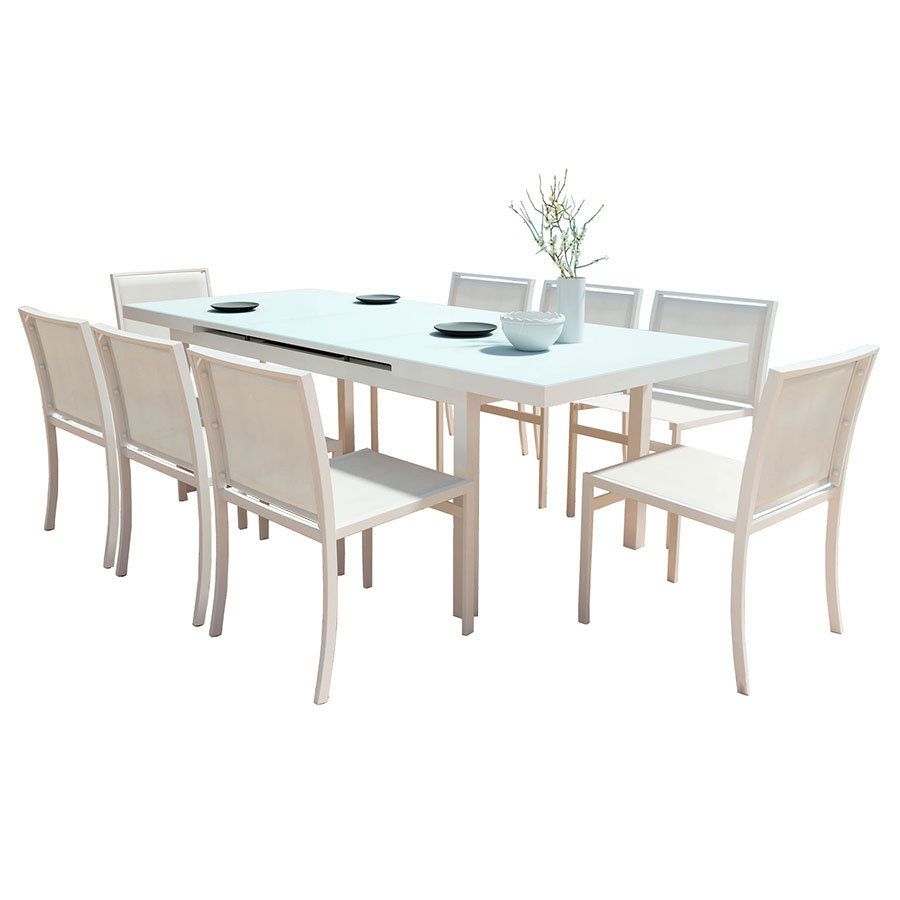 Maribella white modern outdoor dining set eurway for Outdoor dining