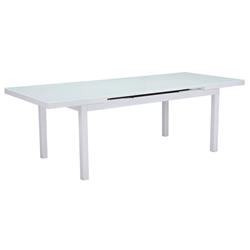 Maribella White Powder Coated Aluminum + Glass Modern Extension Outdoor Dining Table
