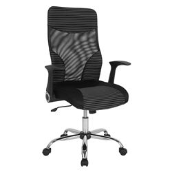 Maribo High Back Executive Modern Office Chair in Black Mesh with White Stripes