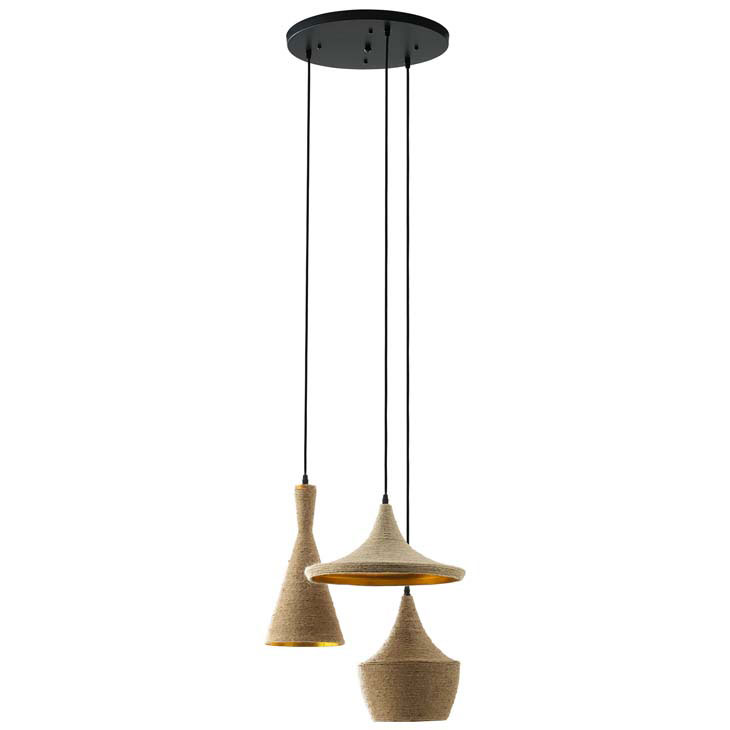 Marie 3-Pendant Hanging Lamp with Rope Shades