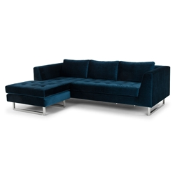 Marietta Midnight Blue Fabric Upholstery + Brushed Steel Modern Sectional Sofa
