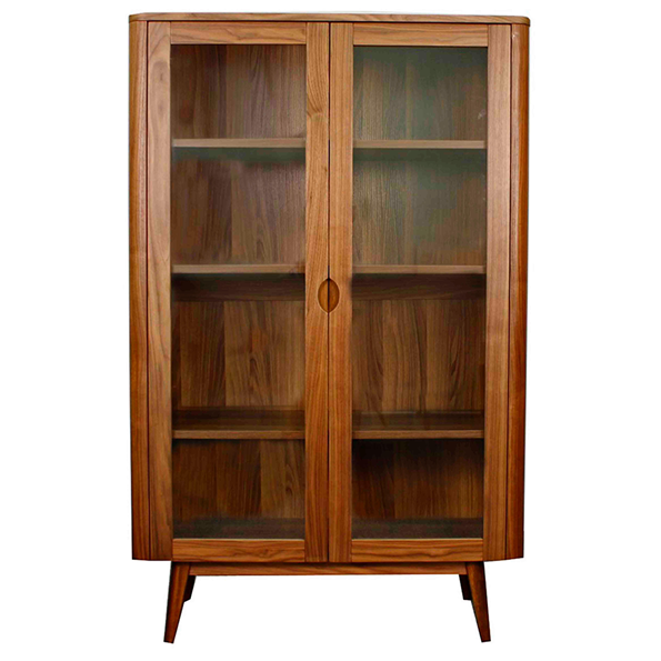 Marika Walnut + Glass Modern Cabinet