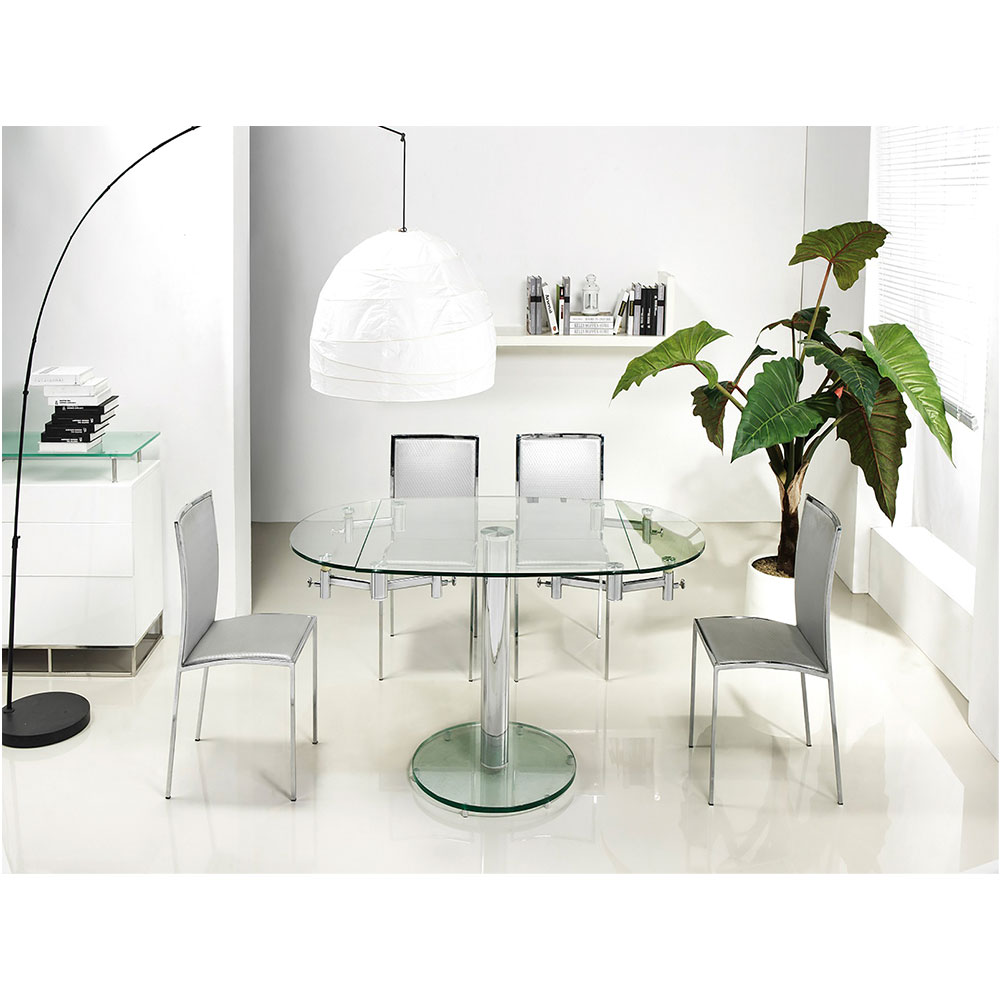 Marina Modern 63 In Oval Extension Dining Table Eurway