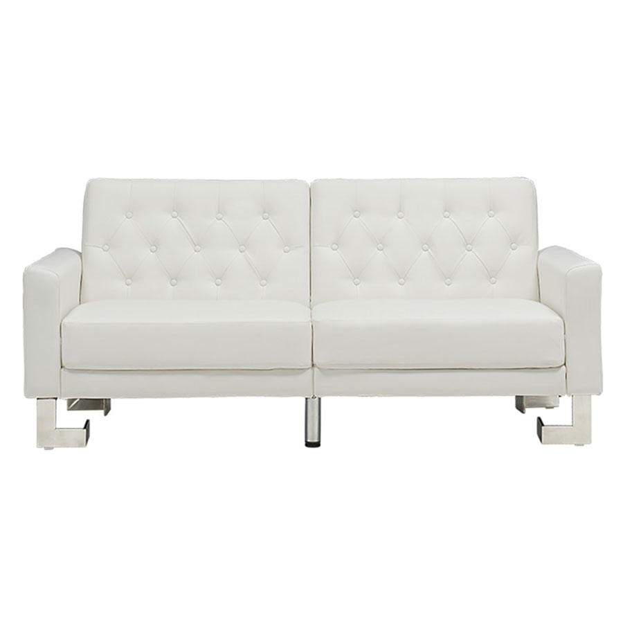 Mariner White Leatherette + Steel Modern Sofa Sleeper
