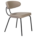 Marjorie Tan Leatherette + Black Steel Frame Modern Dining Side Chair