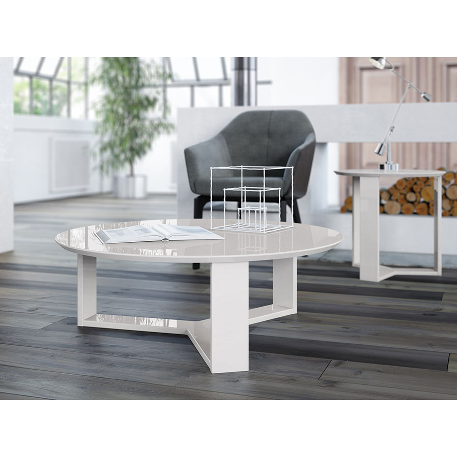 Markel Modern Off White Coffee Table; Markel Modern Off White Cocktail Table