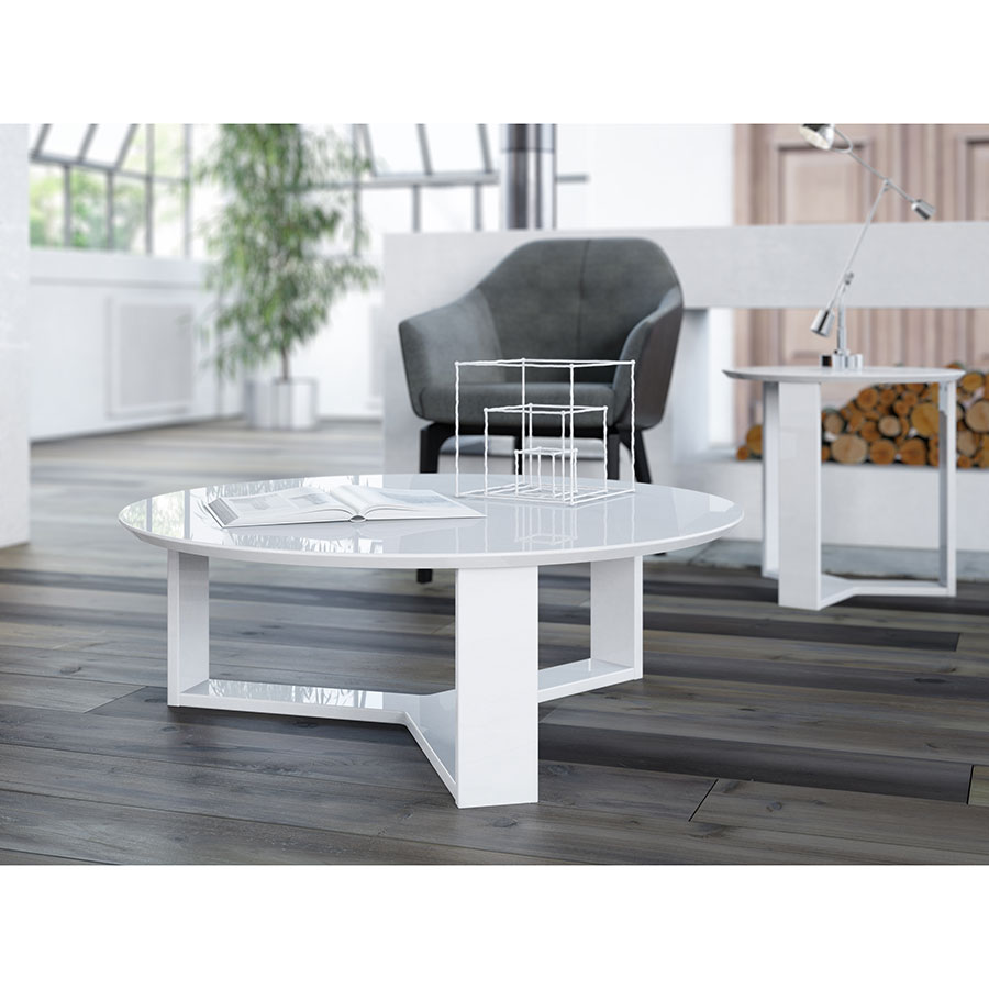 Markel Modern White Cocktail Table & End Table