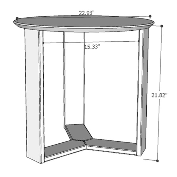 Markel Modern End Table - Drawing