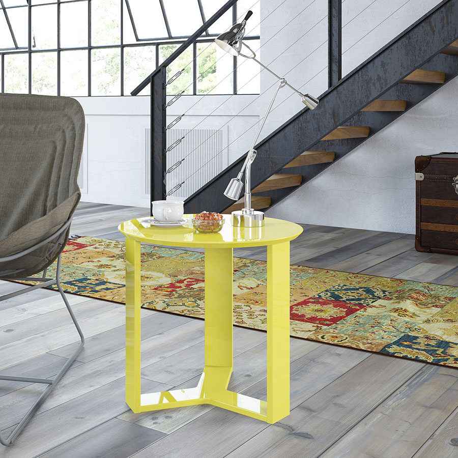 Markel Modern Yellow Cocktail Table End