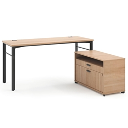 Marlin Modern Wheat-Colored Home Office Desk Set