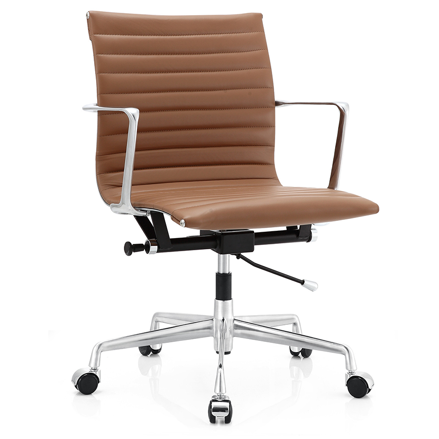 Marquis brown leather modern office chair eurway for Modern leather office chairs