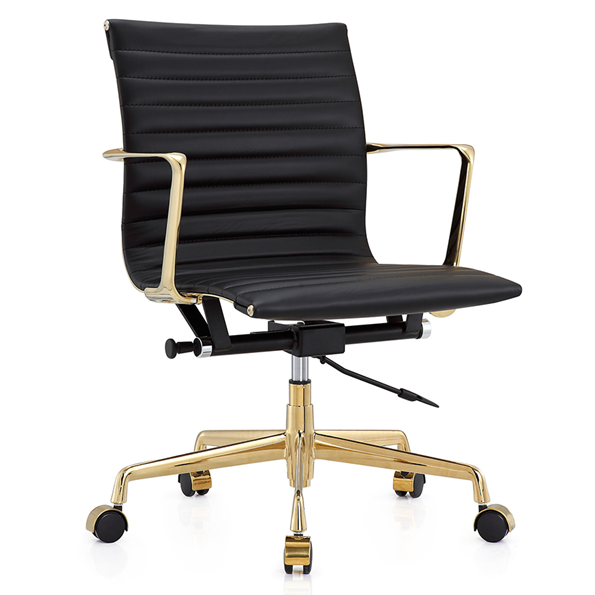 Marquis Black + Gold Leather Modern Office Chair