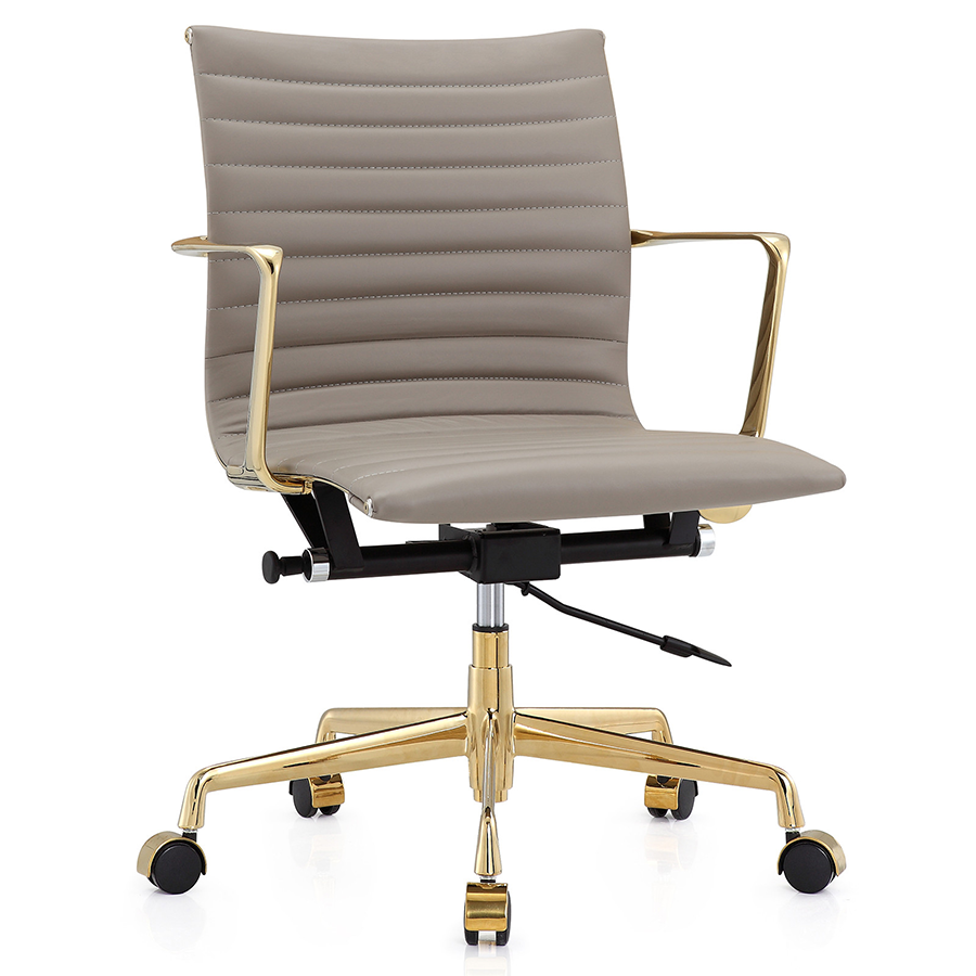 Marquis Gold Gray Leather Modern Office Chair