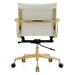 Marquis White Leather + Gold Metal Modern Mid Back Office Chair