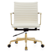 Marquis White Leather + Gold Metal Contemporary Office Chair